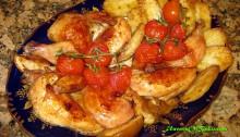 Цыплёнок Запечённый с Картофелем и Яблоками