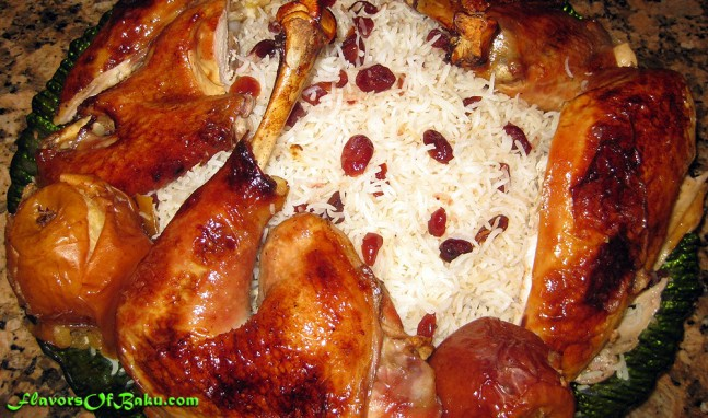 Flat-roasted Turkey with Cranberry Pilaf